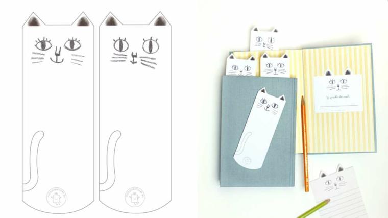 Segnapagina di carta a forma di gattino, lavoretti per bambini facili