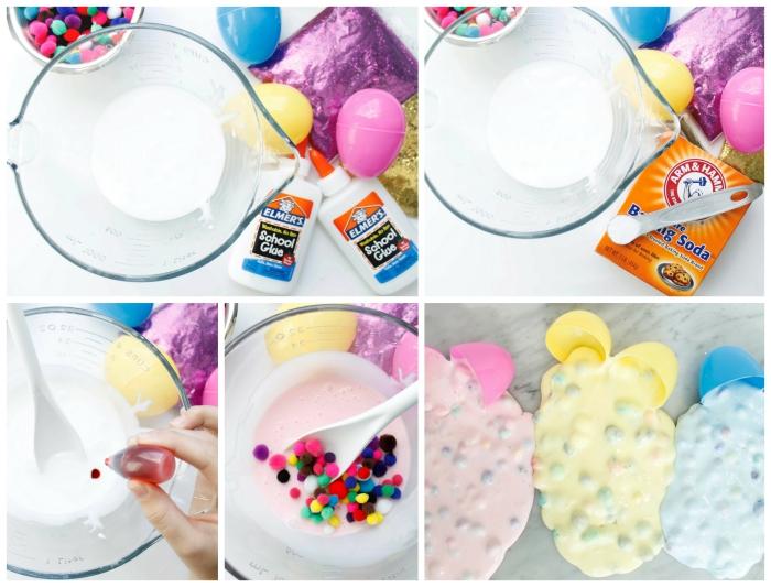 Come fare lo slime in casa con il bicarbonato di sodio e palline di feltro colorato