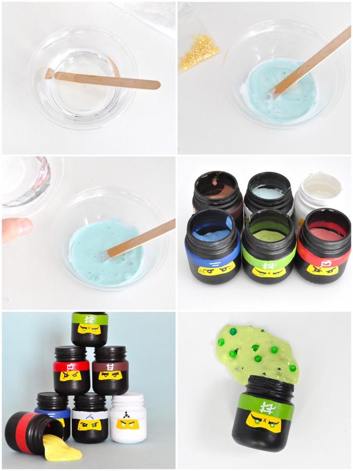 Ingredienti per fare lo slime in barattoli di plastica nera decorati con i personaggi di Lego Ninjago