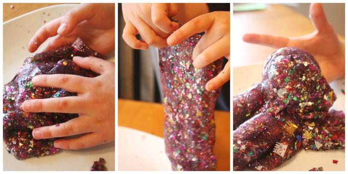 Idea per la slime ricetta con confetti colorati a tema natalizio, pasta modellabile tra le mani di un bambino