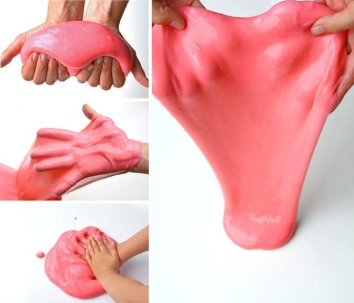 Ingredienti per fare lo slime di colore rosa morbido e molto elastico