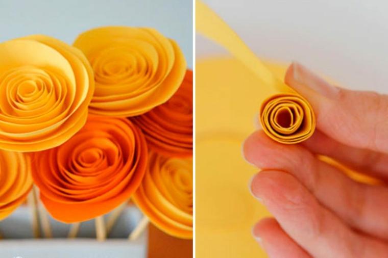 Piccole rose di colore giallo e arancione realizzate con della carta e arrotolati su se stessi
