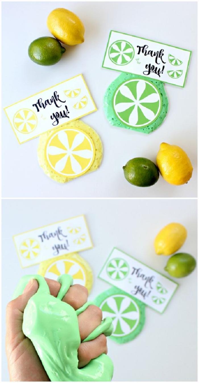 Come fare lo slime in casa di diversi colori, bigliettini regalo con agrumi di pasta modellabile