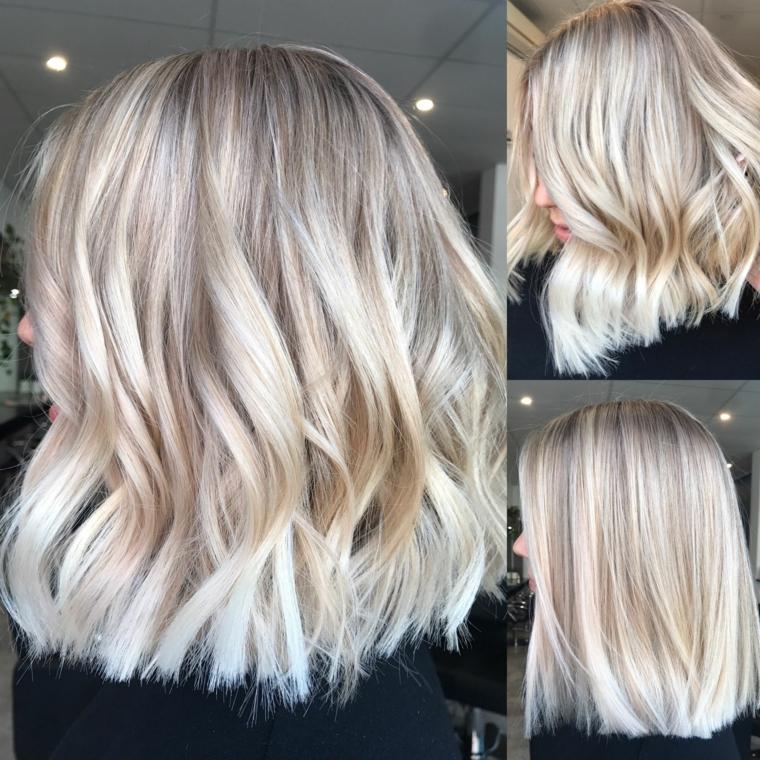 splendidi esempi di capelli biondo platino e un taglio di media lunghezza