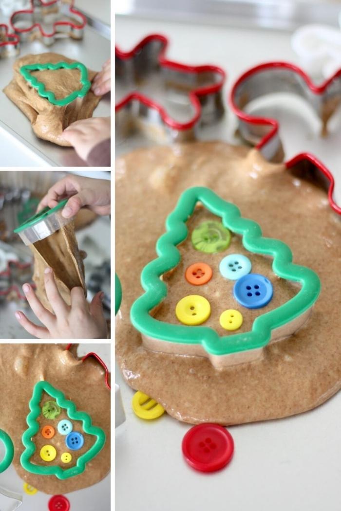 Come fare lo slime di colore marrone con colla glitter e formine natalizie