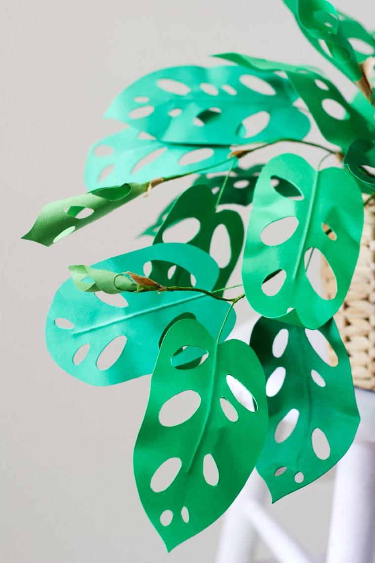Idea pianta sempreverde finta come decorazione, lavoretti manuali per bambini