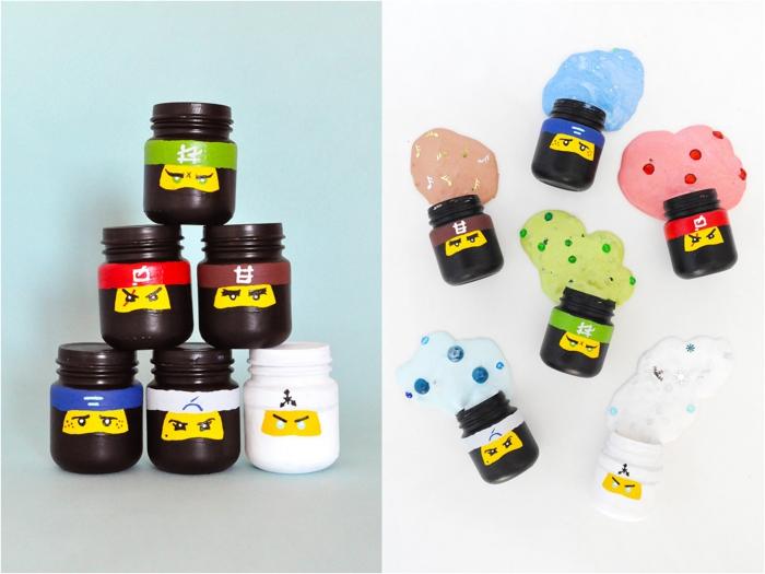 Fluffy slime ricetta con dei coloranti, conservato in barattoli di plastica di Lego Ninjago