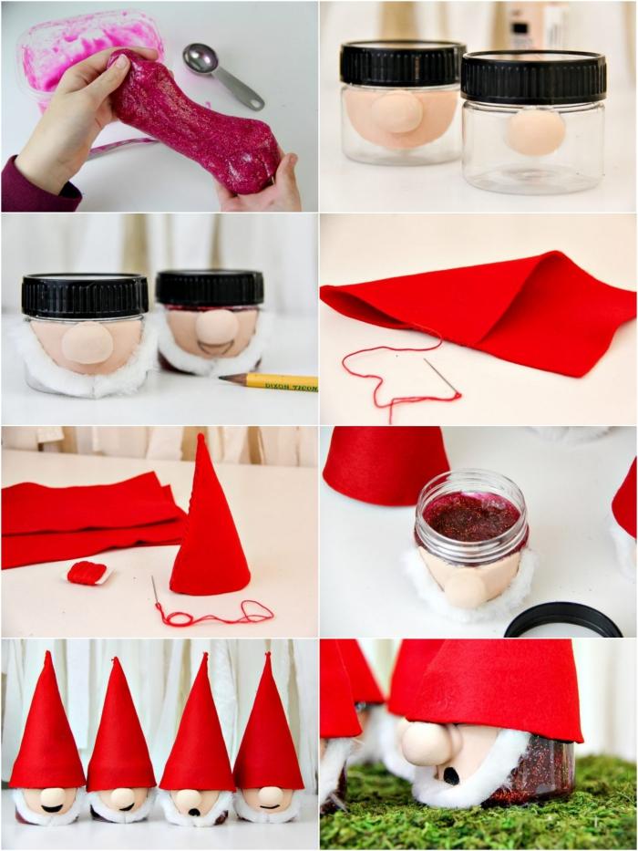 Decorazione natalizia con dei barattolini di vetro trasformati in dei nani con cappellini rossi