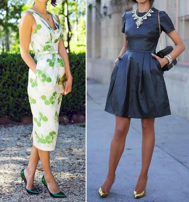 Due proposte abbigliamento per ospiti matrimonio, abbinamento con tacchi e borsette piccole