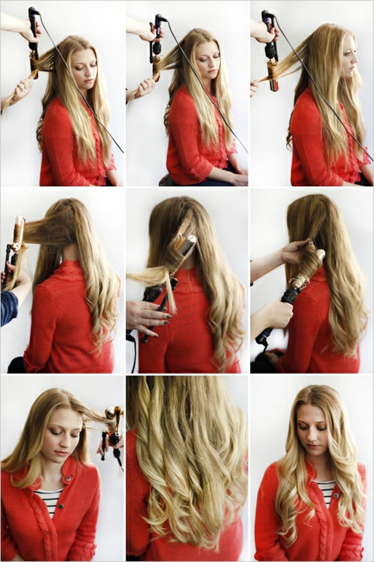 idea per come avere capelli mossi, immagini tutorial, ragazza bionda con maglia rossa