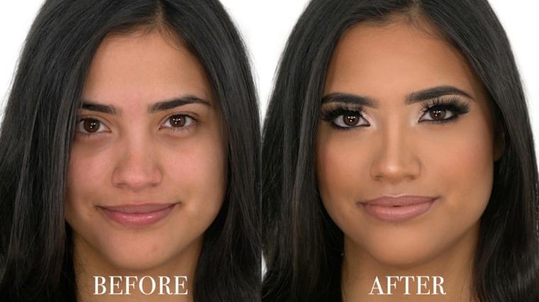 immagini prima e dopo il trucco di una ragazza mora con occhi castani, un maquillage duraturo