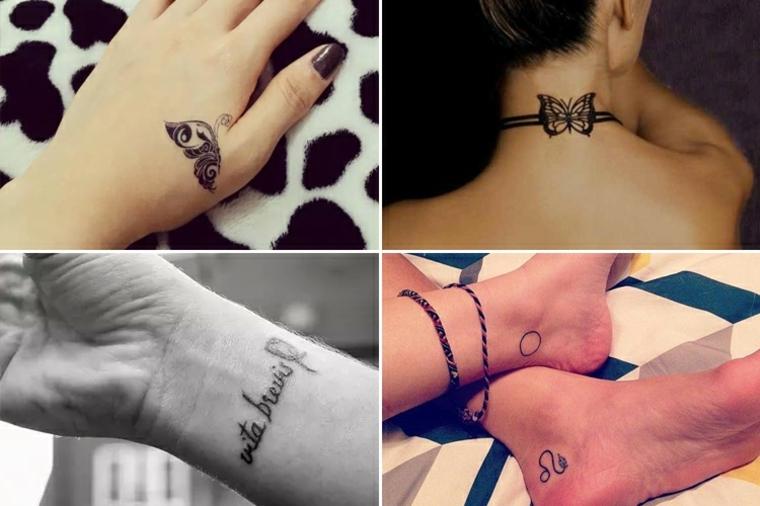 alcuni tatuaggi femminili piccoli ideali per varie parti del corpo, collo, caviglia, mano e polso