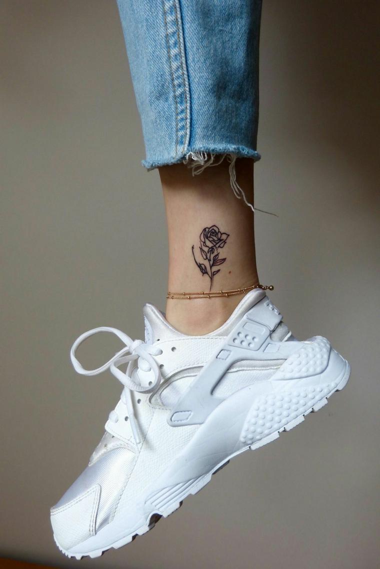 bellissima idea per un tattoo sulla parte interna della caviglia, tatuaggi rose nere