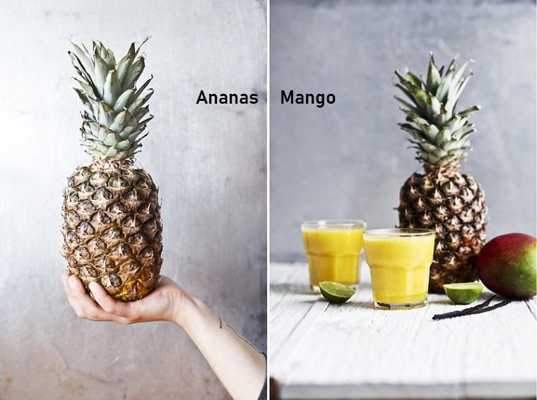 Ricetta per dei frullati di frutta con mango e ananas serviti in bicchieri