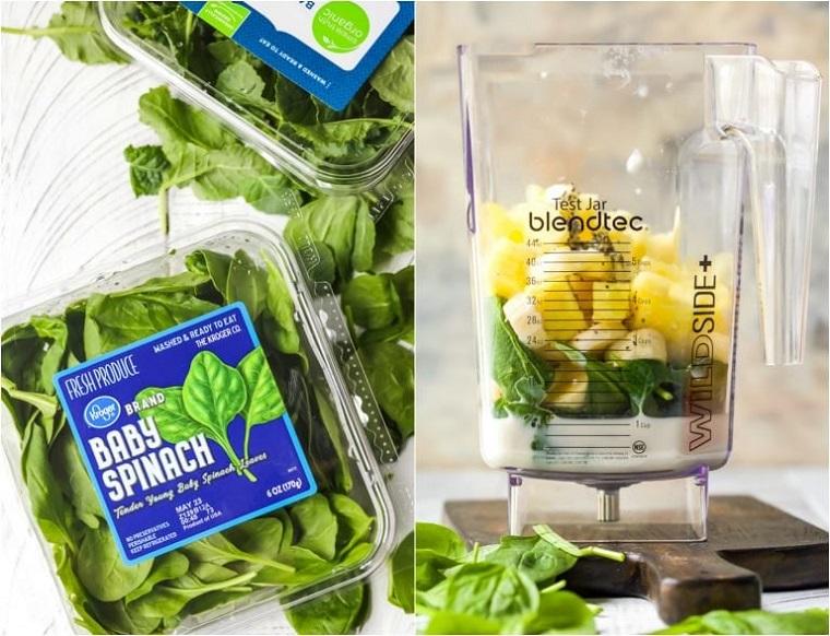 Colazione detox con un frullato alla verdura e spinaci, frullatore con ingredienti tagliati a pezzettini