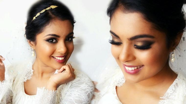 bellissima sposa indiana con occhi, capelli e carnagione scura, idea per un maquillage duraturo