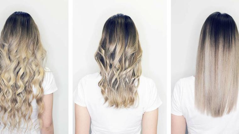 migliori idee per realizzare un colore capelli balayage nei toni del biondo in diverse pieghe
