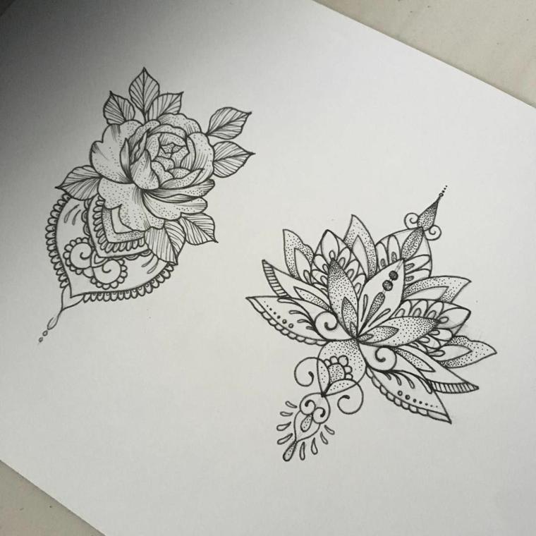Mandala significato e due disegni a matita con ornamenti fiore di loto e puntini