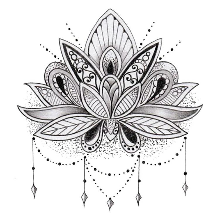 Disegno di un fiore di loto con ornamenti e puntini, mandala tattoo uomo