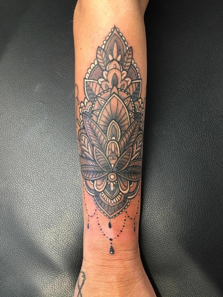 Tatuaggio sul braccio di una donna, fiore di loto significato e simboli mandala