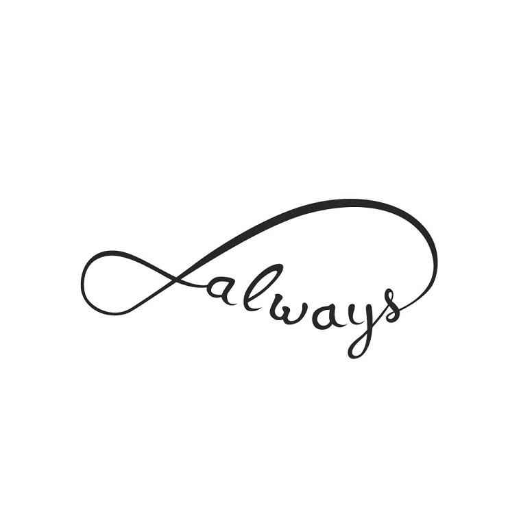 Scritta always sul simbolo dell'infinito, disegno originale per fare un tatuaggio