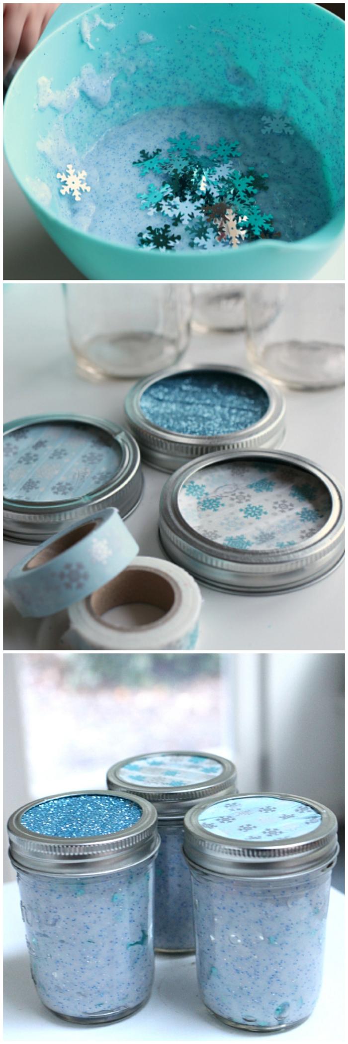 Idea per dello slime di colore azzurro e glitter stelle incorporate nell'impasto