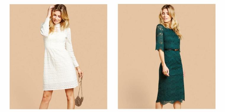 Due proposte di abbigliamento elegante con abiti corti in pizzo di colore verde e bianco