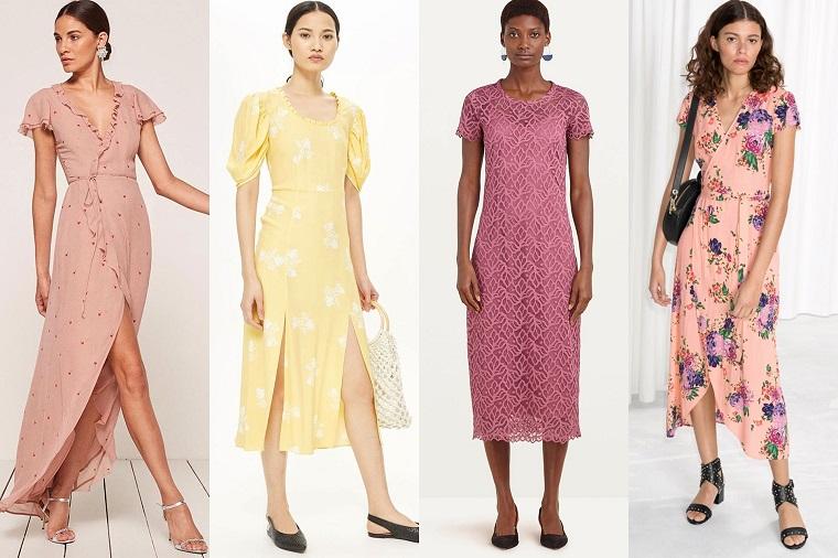 Vestito matrimonio invitata nella tonalità di colore chiaro, quattro proposte tra cui scegliere