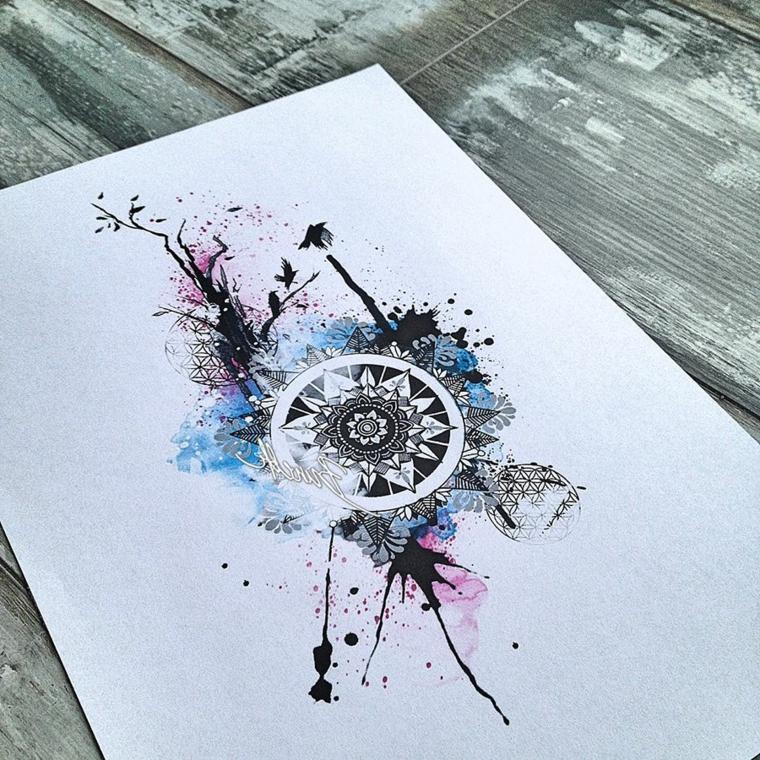 Tatuaggio watercolor di un mandala con forme geometriche, mandala tattoo uomo