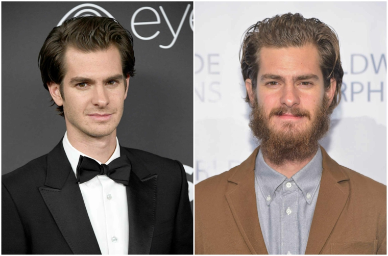 Uomo con capelli lunghi e riga laterale, prima e dopo farsi crescere la barba lunga