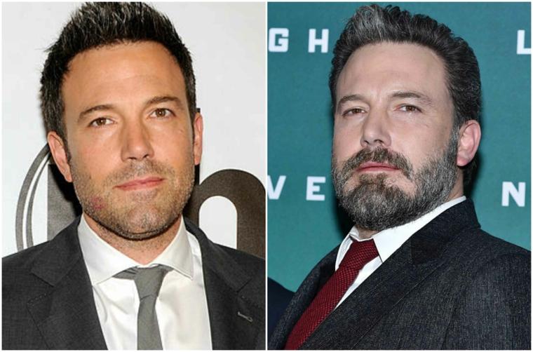 L'attore Ben Affleck prima e dopo la crescita della barba, capelli a punta fissati con gel