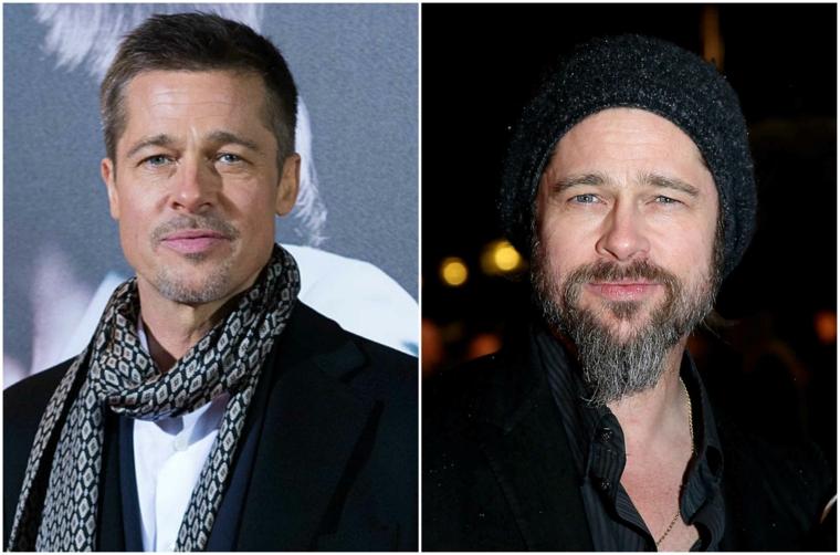 Prodotti per far crescere la barba come l'attore Brad Pitt, prima e dopo la trasformazione