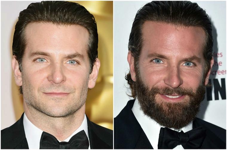 Come regolare la barba come l'attore Bradley Cooper prima e dopo farsela crescere