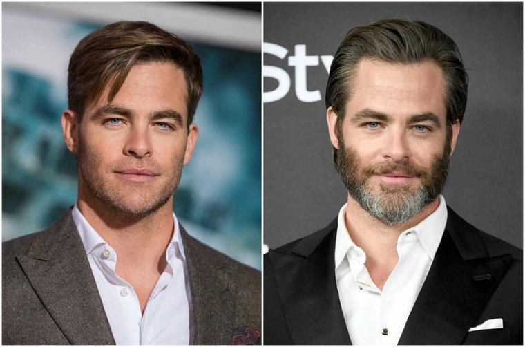 La barba incolta di colore grigio dell'attore Chris Pine prima e dopo