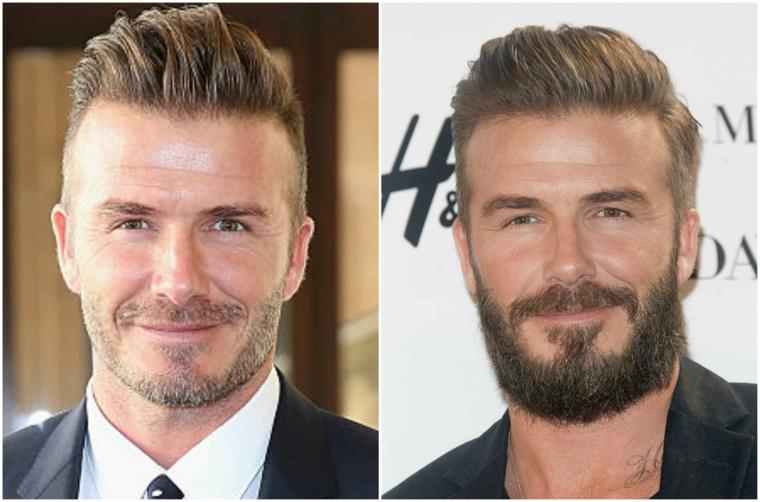 Prodotti per far crescere la barba, il calciatore David Beckham con baffi corti e sorriso