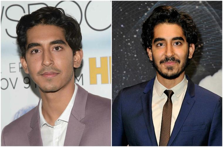 Come curare la barba come Dev Patel, uomo con capelli ricci e baffi corti
