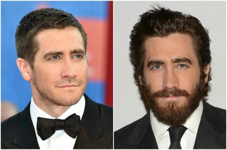 Come stimolare la crescita della barba e una proposta prima e dopo dell'attore Jake Gyllenhaal