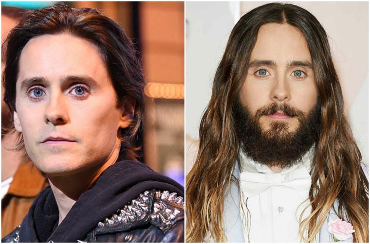 Taglio barba lungo con baffi, una proposta prima e dopo dell'attore Jared Leto