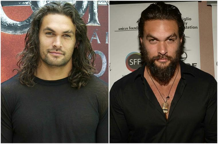 Taglio barba lunga a punta dell'attore Jason Momoa, prima e dopo con i capelli lunghi