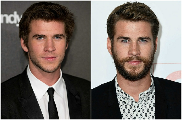 Il taglio di barba di Liam Hemsworth prima e dopo in un collage di foto