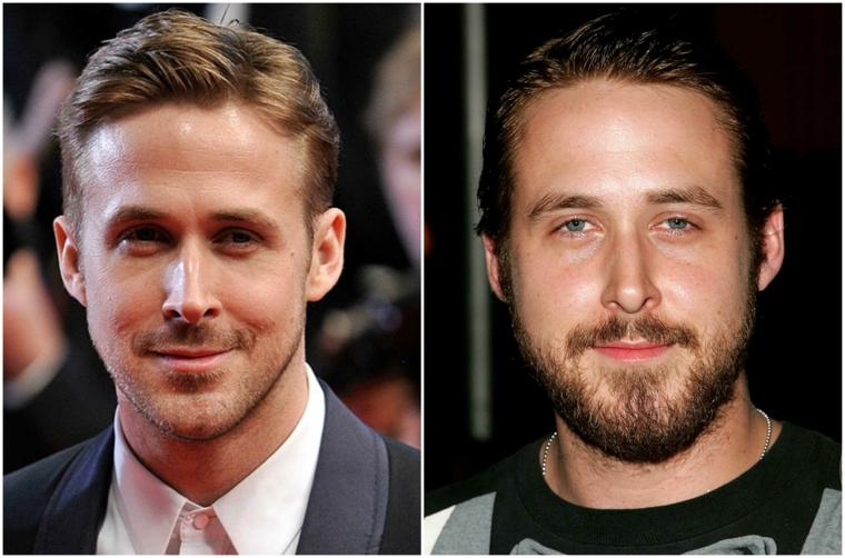 La barba curata di Rayn Gosling, attore con capelli biondi e occhi azzurri