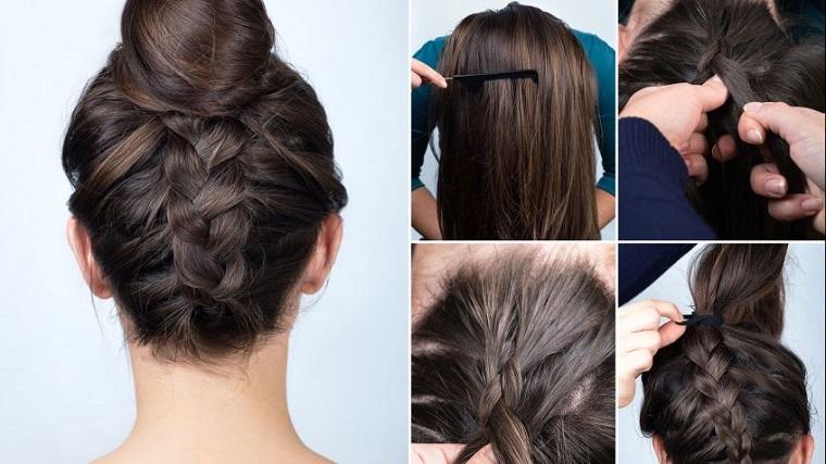 Come fare le trecce alla francese con un'acconciatura chignon per dei capelli castani