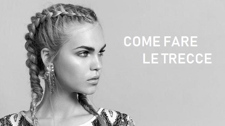 Trecce alla francese di una ragazza con i capelli biondi lunghi e lisci con sguardo di profilo