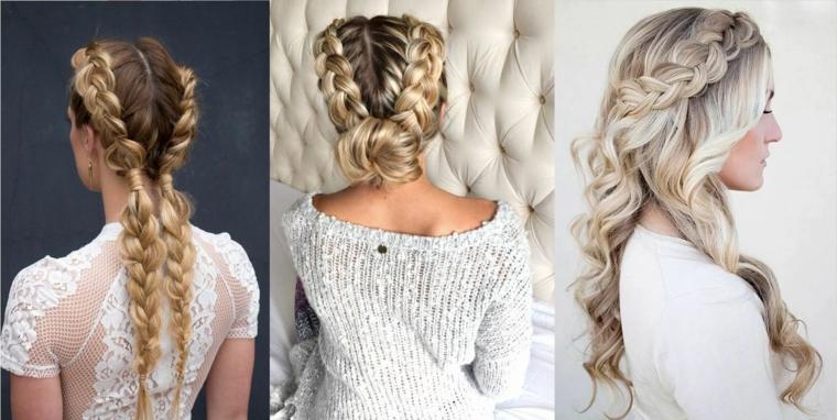 Trecce eleganti alla francese per dei capelli biondi, lunghi e mossi