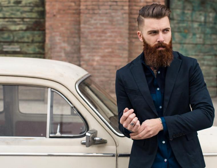 Come stimolare la crescita della barba, uomo con capelli rasati di lato e pompadour