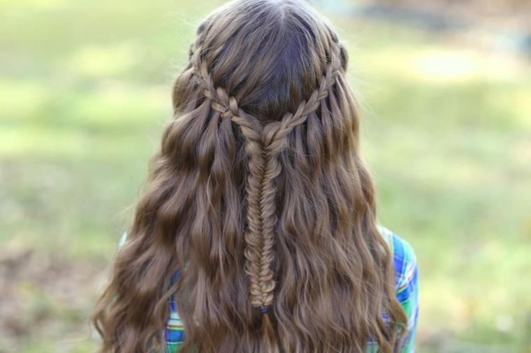 Taglio pari per dei capelli lunghi di colore castano, acconciatura con treccia a cascata