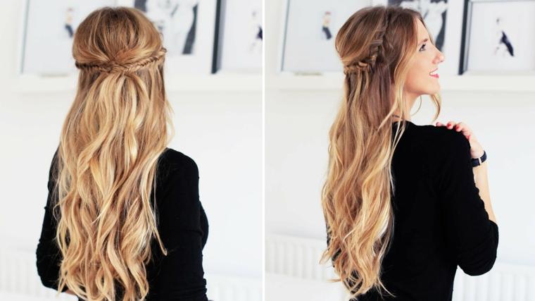 Acconciatura per dei capelli lunghi e biondi con una treccia a cascata