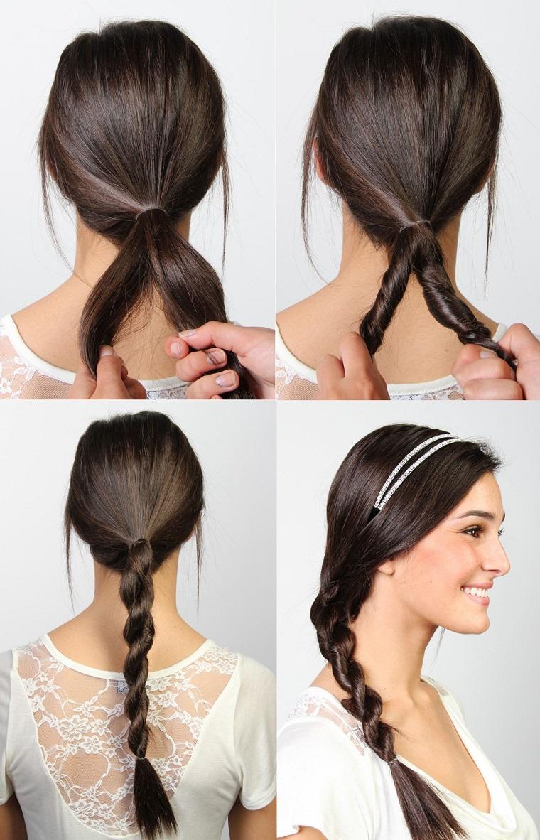 Tutorial trecce particolati sui capelli castani di una ragazza sorridente con cerchietto