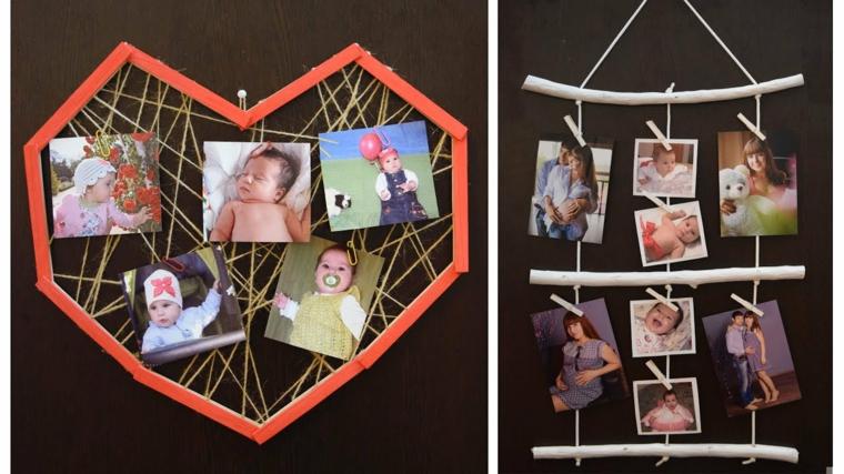 Portafoto multiplo da parete fai da te con legno e fili su cui attaccare le foto