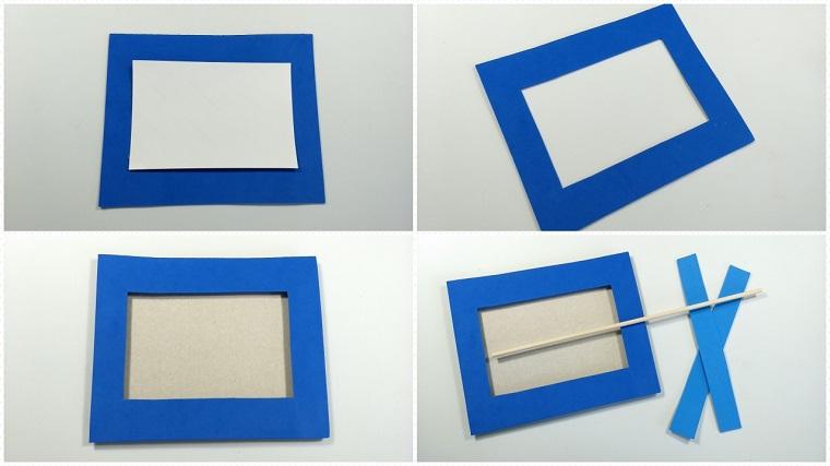 Cornici portafoto di cartone rivestite con della gomma eva di colore blu